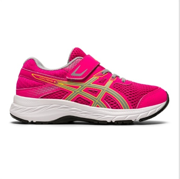 Asics Contend 6 PS Girls Running Shoes: Pink Glo/Piedmont Grey
