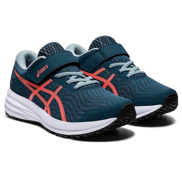 Asics Patriot 12 PS Boys Running Shoes: Magnetic Blue/Sunrise Red: US 1