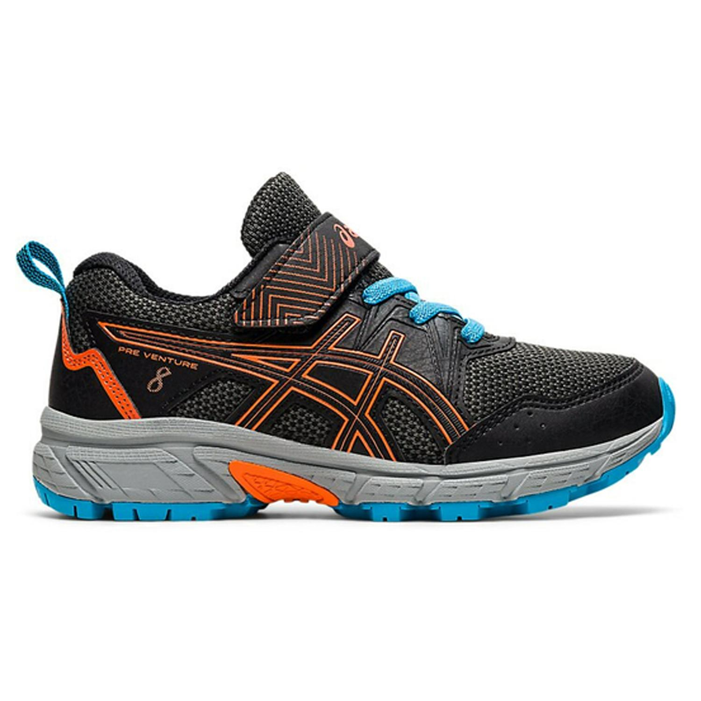 Asics Pre Venture 8 PS Boys Trail Running Shoes: Black/Marigold Orange |  Mike Pawley Sports